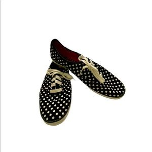 Keds sneakers size 8 black with white polka dots